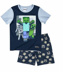 Boys minecraft short sleeve pyjama navy blue full 20381